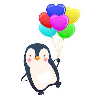 Пингвин держит воздушный шар. милое животное