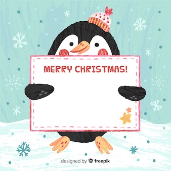 Penguin holding blank sign background