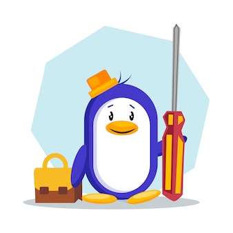 Penguin holding screw driver vector illustration