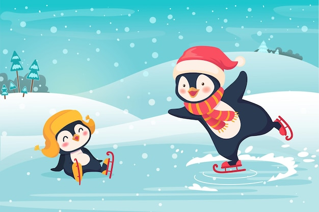 Penguin ice skating outdoor. sport and leisure concept illustration