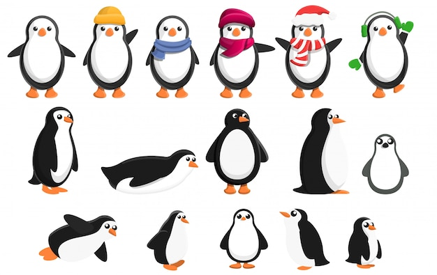 Penguin icons set, cartoon style