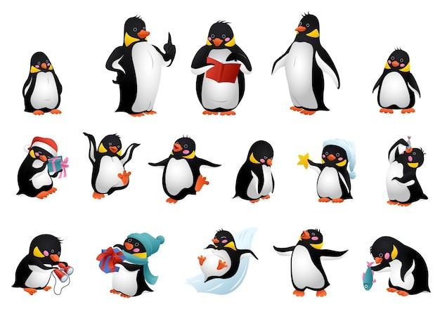 Набор иллюстраций пингвинов. мультяшный набор пингвина