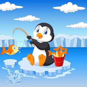 Penguin is fishing on the arctic ice