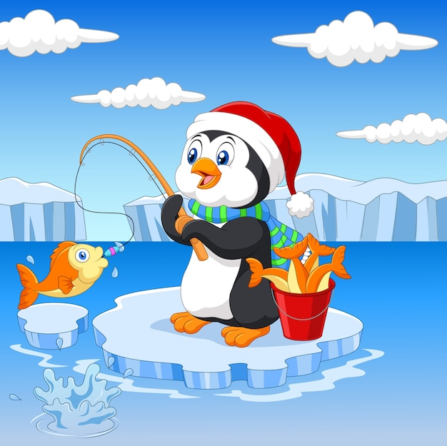 Penguin is fishing wearing santa hat  on the arctic ice