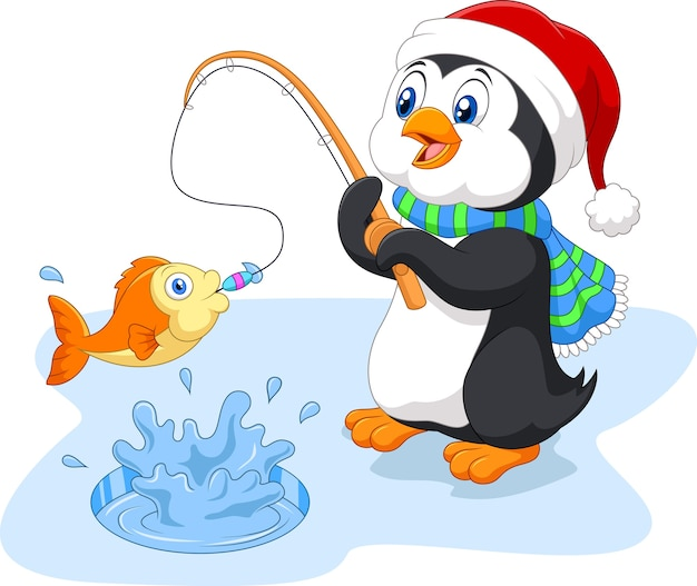 Penguin is fishing wearing santa hat on the ice