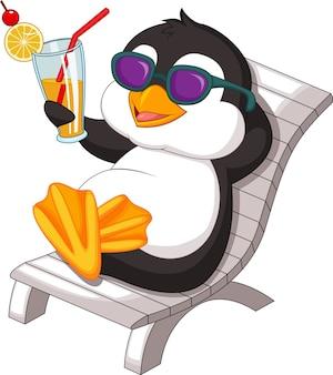 Penguin is getting sunbath