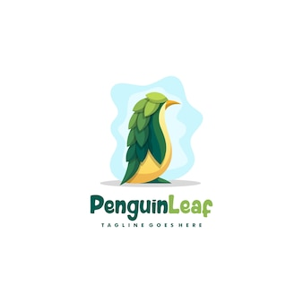 Penguin leaf illustration vector design template