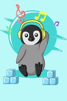Пингвин слушает музыку