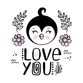 Penguin love you  greeting card. cartoon monochrome hand drawn sketch with handwriting text clip art