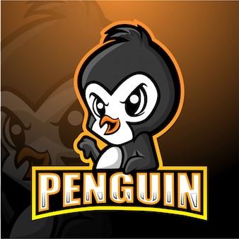 Пингвин талисман киберспорт иллюстрация