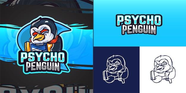 Penguin mascot logo for e-sport illustration