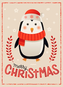 Penguin merry christmas card poster template vector illustration