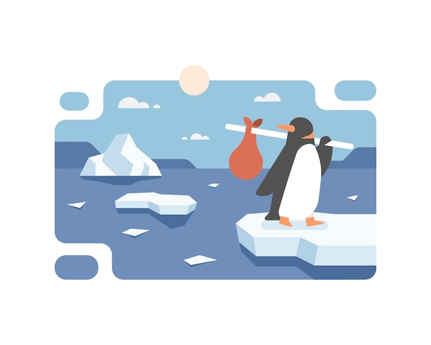 A penguin migrating from the south pole due to global warming