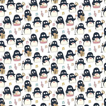 Penguin musician seamless pattern background