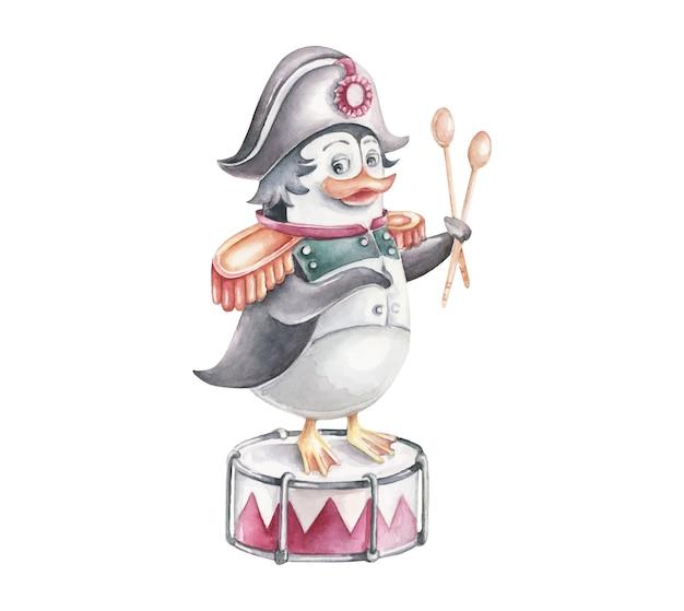 Penguin in napoleon costume with drum.cartoon character