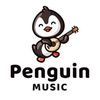 Penguin play guitar logo