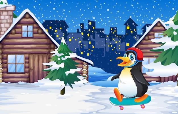 Пингвин играет в скейтборд зимой