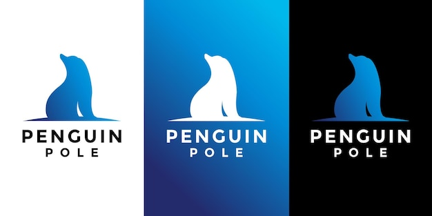 Пингвин полюс дизайн логотипа вектор
