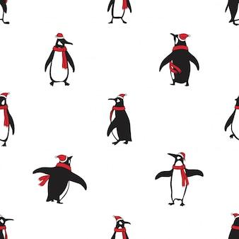 펭귄 원활한 패턴 조류 크리스마스 산타 클로스 모자 만화