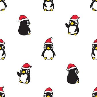 ペンギンシームレスパターンクリスマスサンタクロース帽子漫画