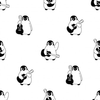 Penguin seamless pattern guitar music cartoon bird illustration
