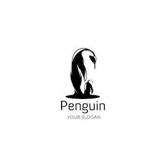 ペンギンシルエットロゴイラスト
