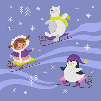 ペンギンそり女の子ホリデー動物フラットデザイン漫画手描きイラスト