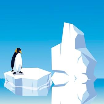 北極のイラストで氷山に立っているペンギン