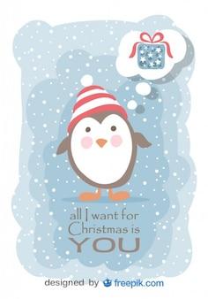Pinguino pensare a un regalo