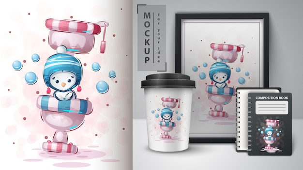 Penguin on toilet poster and merchandising
