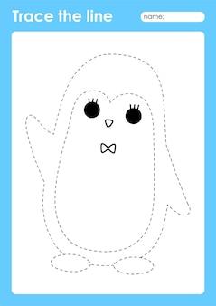Penguin - tracing lines preschool worksheet for kids for practicing fine motor skills