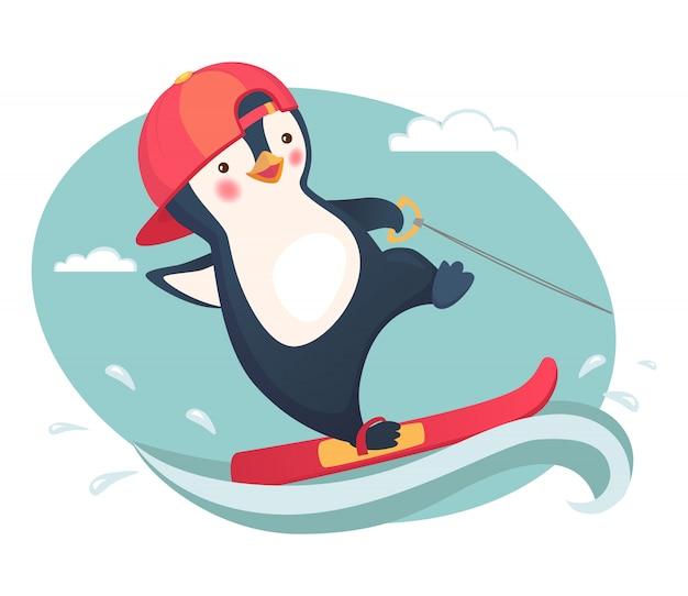 Penguin water skiing