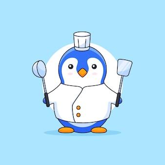Пингвин в кулинарной одежде и берет лопатку