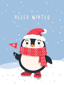 Penguin wearing scarf and santa hat winter background
