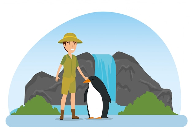 Penguin wild animal with safari man