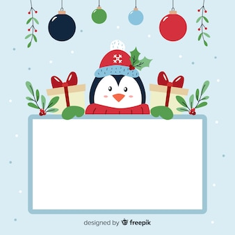 Penguin with a board