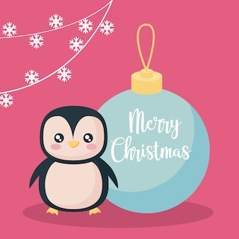 Penguin with ball of christmas