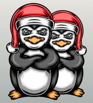 クリスマスの帽子とペンギン