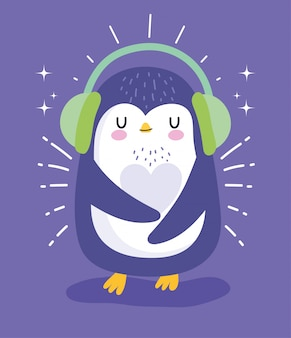 Penguin with earmuffs