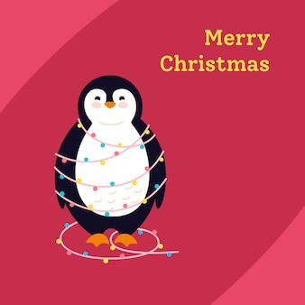 Penguin with garland cartoon greeting merry christmas, winter holidays postcard. funny happy new year animal winter character.