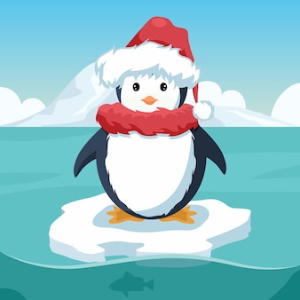 Penguin  with santa claus cap at christmas