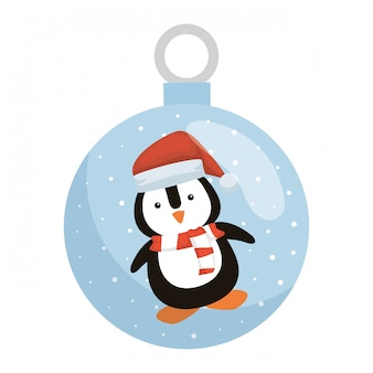 Penguin with santa claus hat in crystal ball
