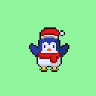 픽셀 아트 스타일의 산타 모자와 목도리를 가진 펭귄