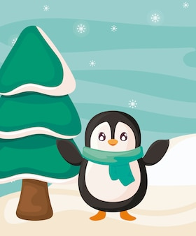 Penguin with scarf and christmas tree on winter landscape