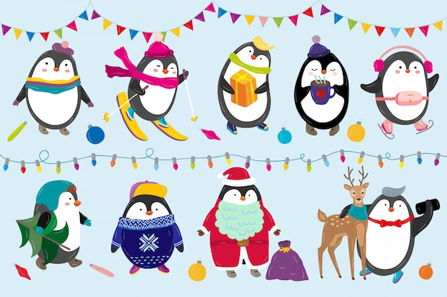 Penguins celebrate christmas illustration happy funny animal characters in winter and new year costume