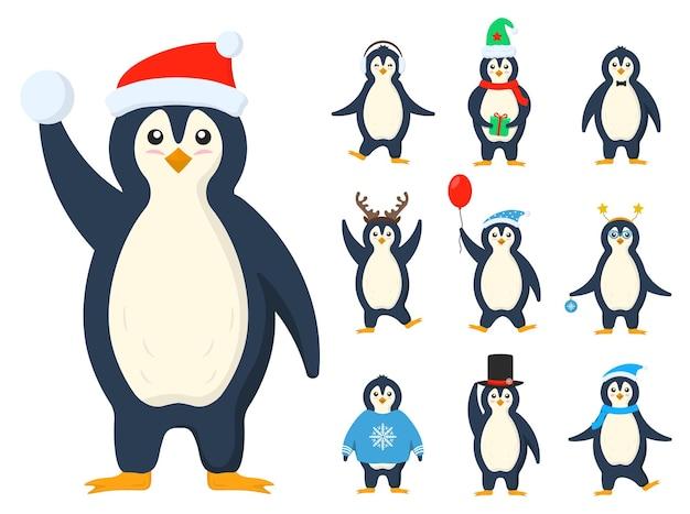 평평한 귀여운 만화 캐릭터의 펭귄 옷 추운 겨울 남극 조류 동물 세트
