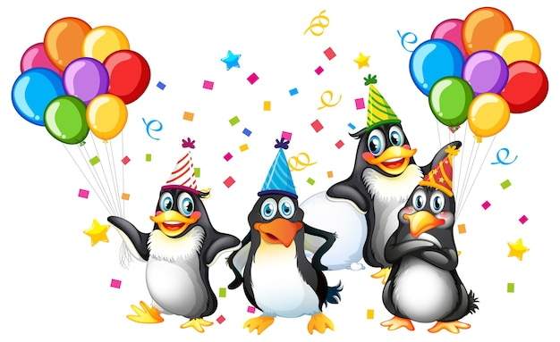 Penguins group in party theme cartoon character on white