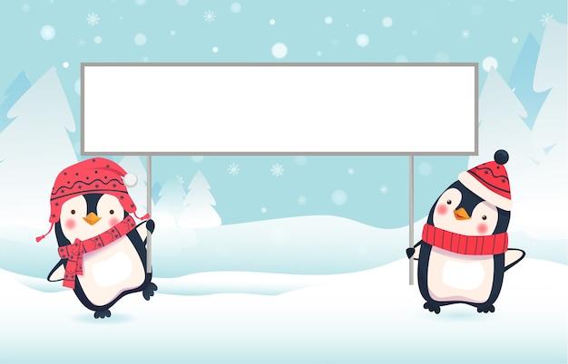 Пингвины держат знамя