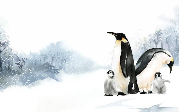 Пингвины в векторе акварели зимой чудес
