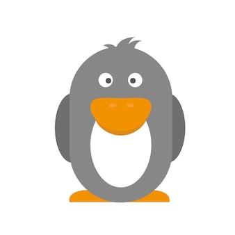 펭귄 흰색 절연입니다. 남극 대륙의 남반구에 사는 수중 날지 못하는 새. 평면 디자인의 어린이용 스티커. 벡터